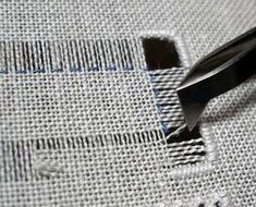 Drawn Thread Embroidery: Another Way to Secure the Edge. Wow, what a pain. Makes me feel better about the cost of table linens with this treatment.
