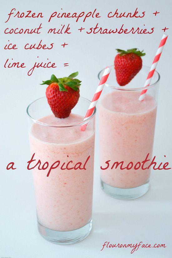 Non dairy Tropical Smoothie recipe made with coconut milk via flouronmyface.com