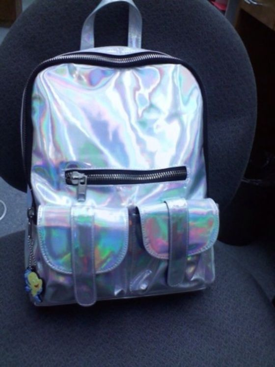 bag,silver,backpack,holographic,unif,oil,rainbow,zip,cool,cute,holographic  bag,pockets,metallic,school bag,translucent,early 2000s,shiny silver  metallic ... 960d3a2429