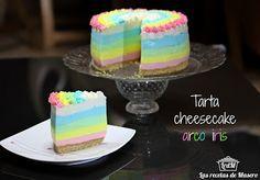 Tarta cheesecake arco iris