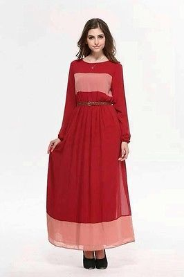 Chiffon long dress full lining
