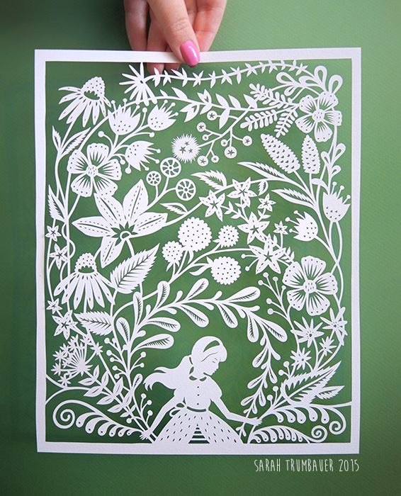 """The Secret Garden"" Original handcut paper illustration by Sarah Trumbauer 8x10""…"