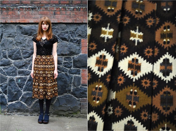 60's JAEGER Kilim Print Full Skirt w/Pleats by OHolyVintage