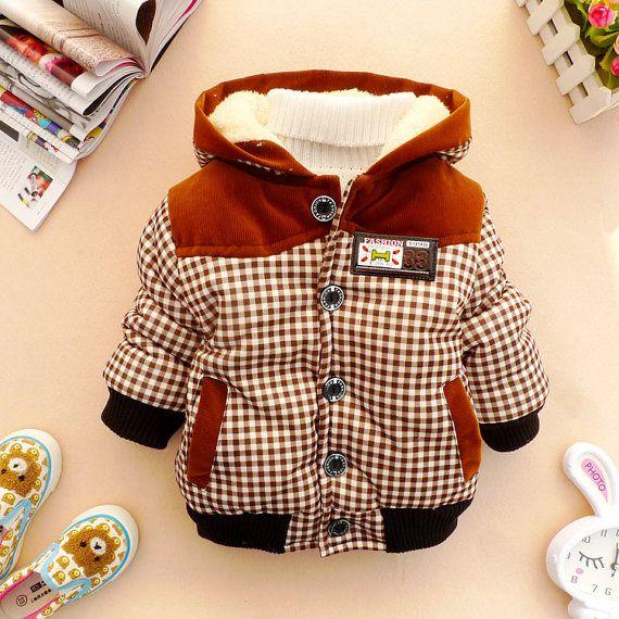 sale 18m, 2y,3y toddler boy clothes boy coat boy clothes brown plaid winter jacket