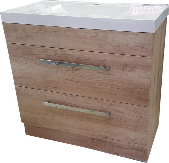 Alpha Montrose 900mm Washed Oak Floor Standing Vanity  This is a very stylish but very practical vanity and will suit any bathroom with its sleek lines and unique washed oak colour cabinet. 900mm Soft closing fully extendable drawers Polymarble top Chrome handles Water resistant finish