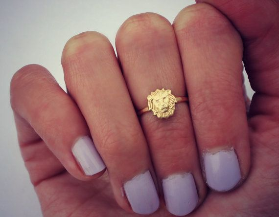 Lion ring  knuckle ring gold ring stacking by ChildrenofFlowers