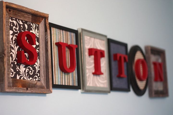 Foam letters, spray paint, scrap book paper, and mis-matched frames! Love this!: Cute Ideas, Scrapbook Paper, Foam Letters, Sprays Paintings, Wooden Letters, Mis Matching Frames, Scrap Book, Kids Rooms, Woods Letters