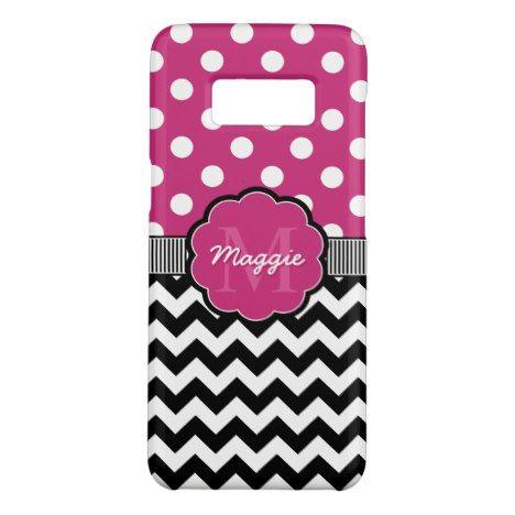 Pink Polka Dots Black Chevron Monogram Case-Mate Samsung Galaxy S8 Case