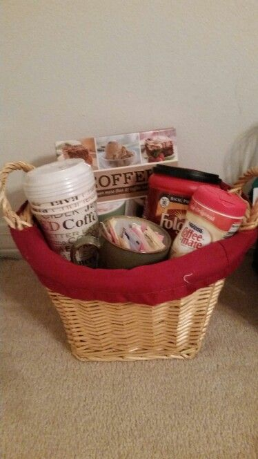 My coffee gift basket. Got the cups from cheap from Goodwill and filled with sweeteners I had at home. Added a cute coffee recipe book to top it off.