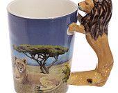 Coffee Cup Novelty Ceramic Safari Standing Lion Handle Animal Mugs Cups Gift Ideas