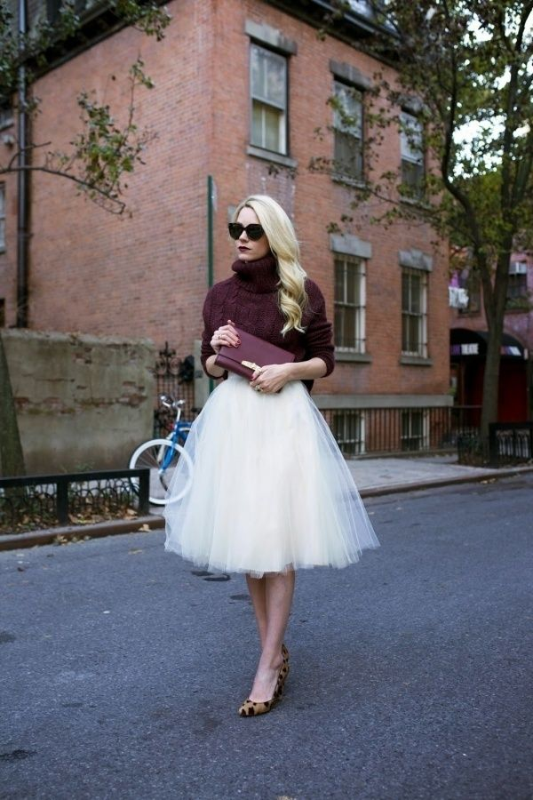 Chunky knit sweater with a pretty tulle skirt and leopard print shoes. This is perfect!