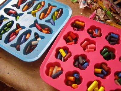 ice cube try to make shaped crayons (good for tiny bits of crayons)