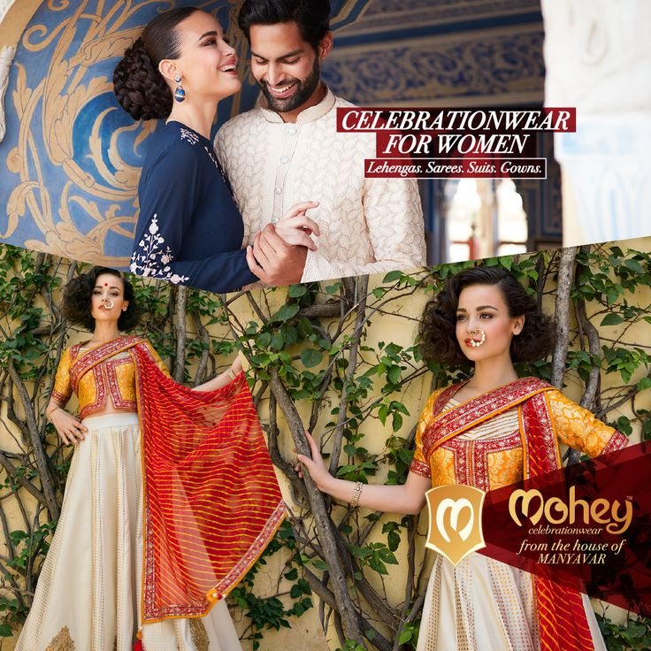 Ornate, embellished, elaborate Bridal Wear. Select Lehenags, Gowns, Sarees from the house of Manyavar.