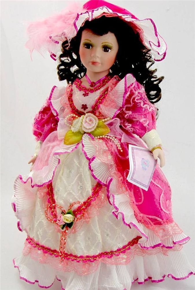COLLECTIBLE PORCELAIN VICTORIAN PRINCESS DOLL PINK AND ...