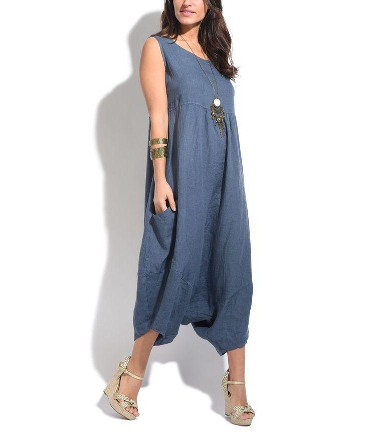 Cobalt Blue Linen Harem Jumpsuit