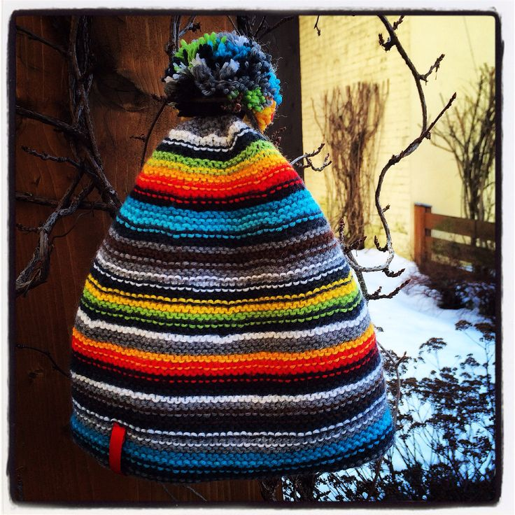 knitted winter hat with stripes