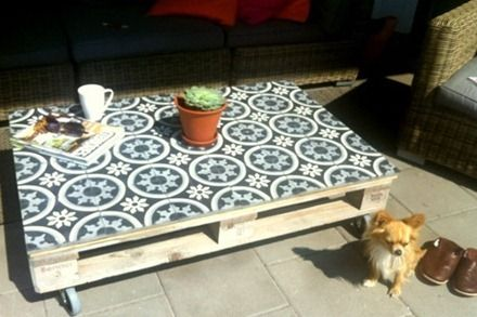 Moroccan tiles on pallets, tables, Maria Elneskog via ROOM and serve a