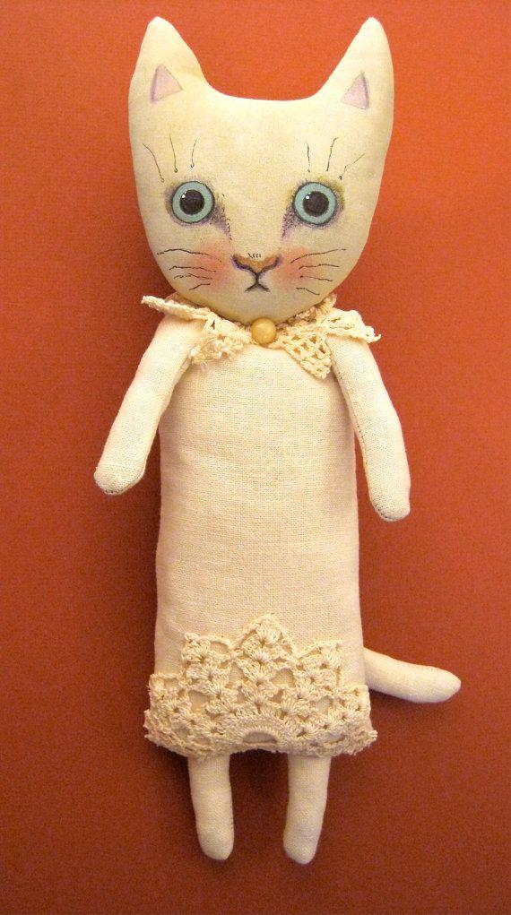 cat art doll- linen dress-- hand painted- linen fabric- nursery art- cat collector- shabby chic doll-wall art- wall hanging-