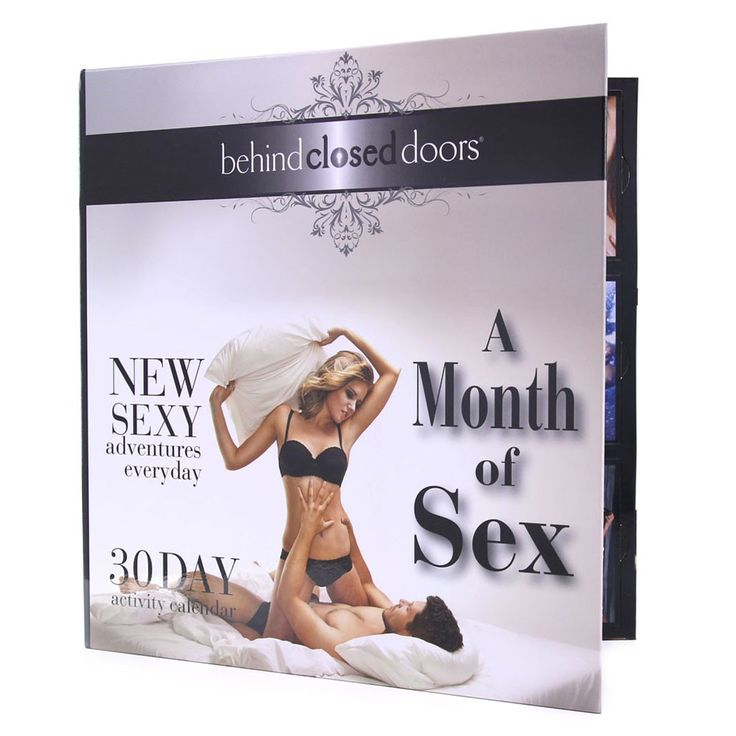 """Invigorate your sex life every day of the month with the help of a creative docket of racy, sexual activities to be acted out by you and your lover over the course of 30 days. Opening like a book, this dual page calendar features removable """"doors"""" to signify each day, revealing a sultry activity card underneath its erotic picture when unlocked. Begin and finish your month of sex whenever you please, this calendar can be started any day you like and completed at your own pace."""