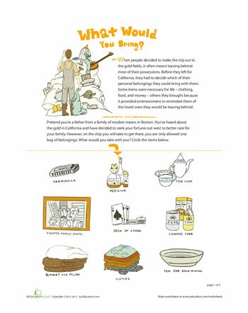 Worksheets: Packing for the Gold Rush