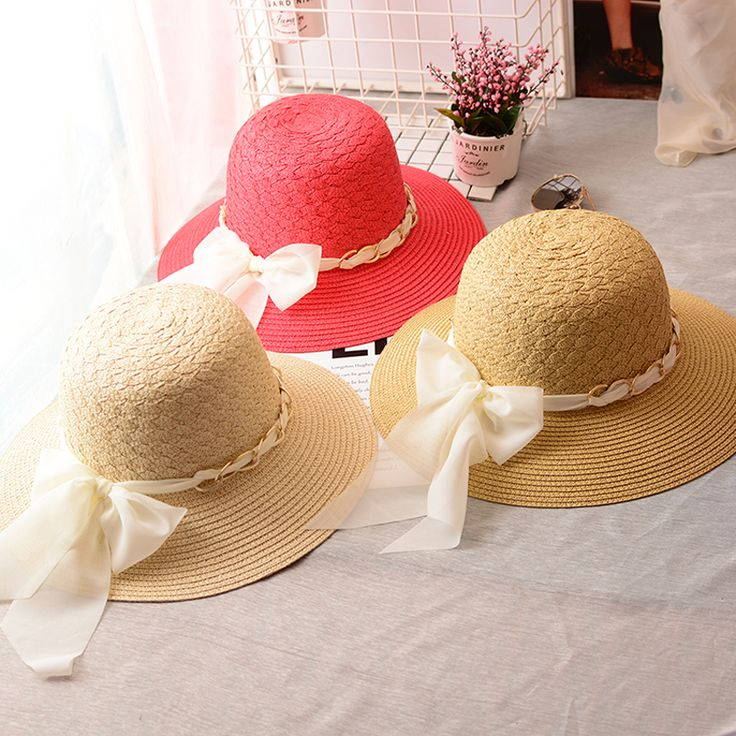 200PCS/LOT summer elegant girls bowknot Panama sunhats beach hats sun hat for women,chapeau de paille femme,sombreros