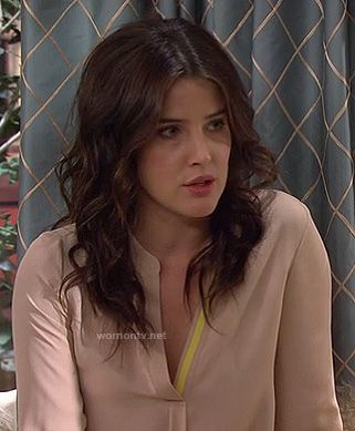 Robin's nude/blush blouse with yellow detail on How I Met Your Mother.  Outfit details: http://wornontv.net/11924/