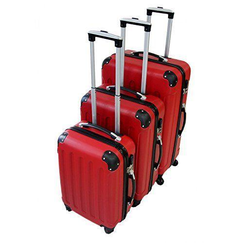 Todeco – Set de 3 valises Trolley rouges – Valises rigides à roulettes avec sécurité: Price:81.99Pour que votre voyage d'affaire ou vos…