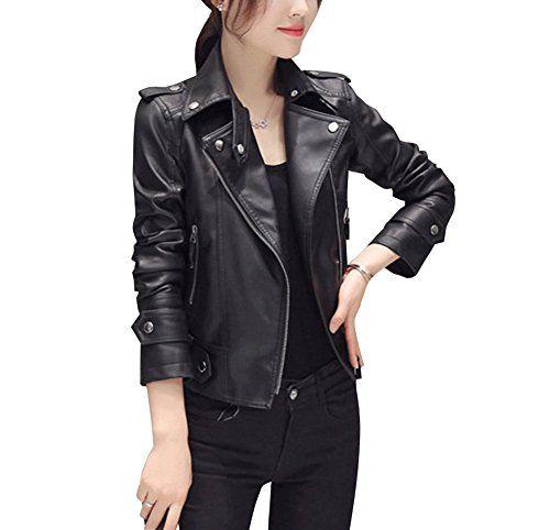 Femme Veste Blazer de moto en cuir PU Elégant Faux Cuir Blousons à Manches Longues L Noir