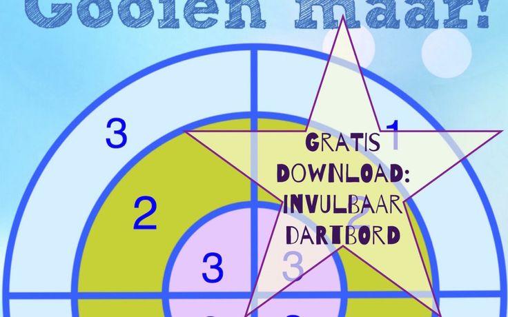 Gratis download: invulbaar dartboard voor sommen. Projecteer het op je smartboard en laat de kinderen met een softbal gooien (of print het op A3)