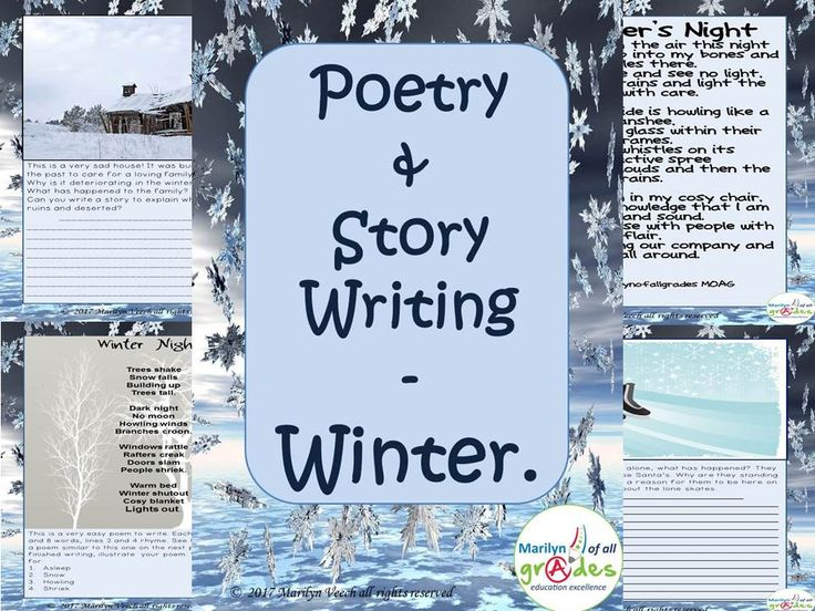 Narrative poetry<br /> Poetry and Creative Writing about Winter – UPDATED – 15 new lessons.<br /> This is a 31 page unit written around the theme of winter. The unit consists of creative writing and poetry, I have written two poems, one that I have used a...