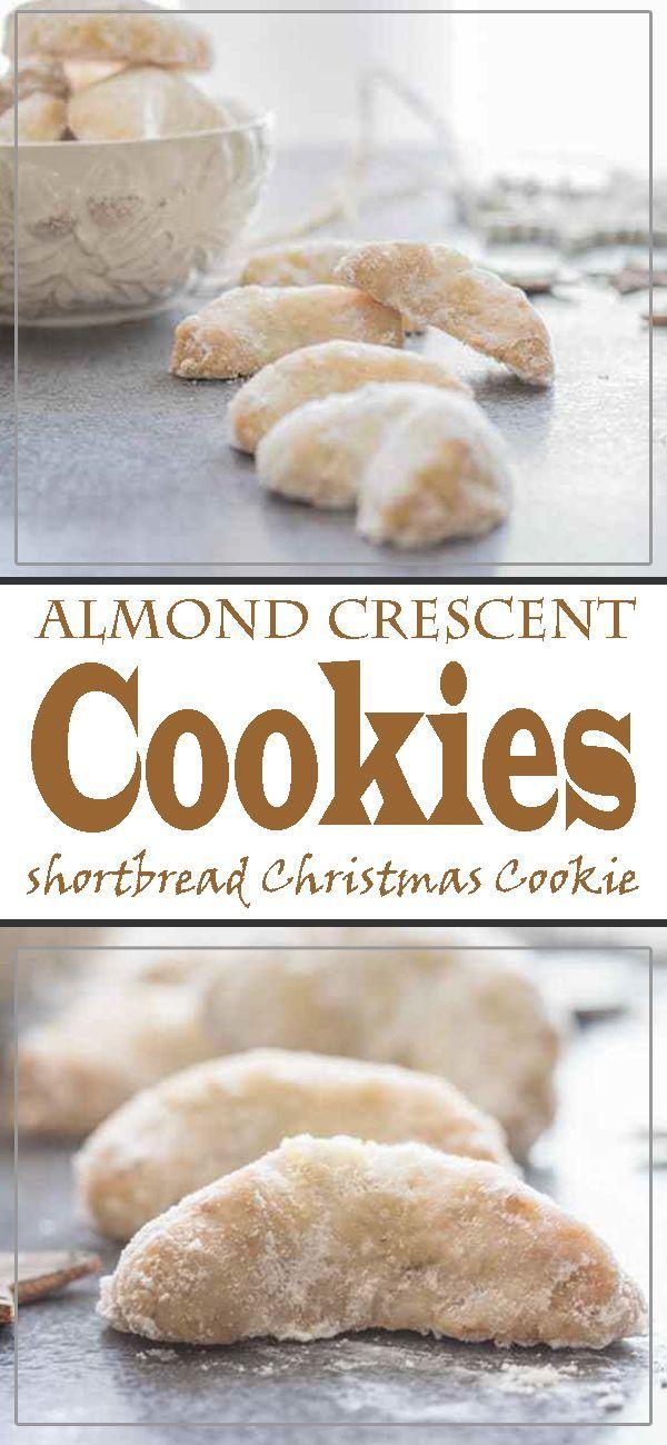 Almond Crescent Cookies, Shortbread Type Christmas Cookie