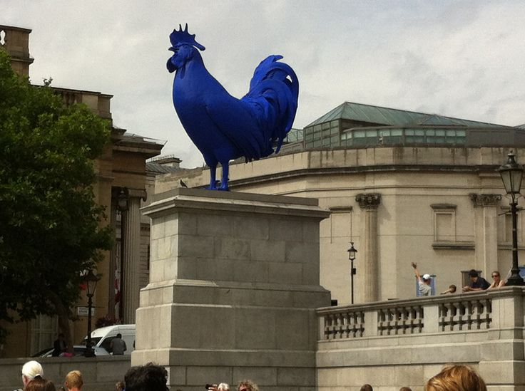 Artist Katharina Fritsch's Hahn/Cock | iPhone Photograph by Lucy Soni | blue | chicken  | cockerel | sculpture | Trafalgar Square | London