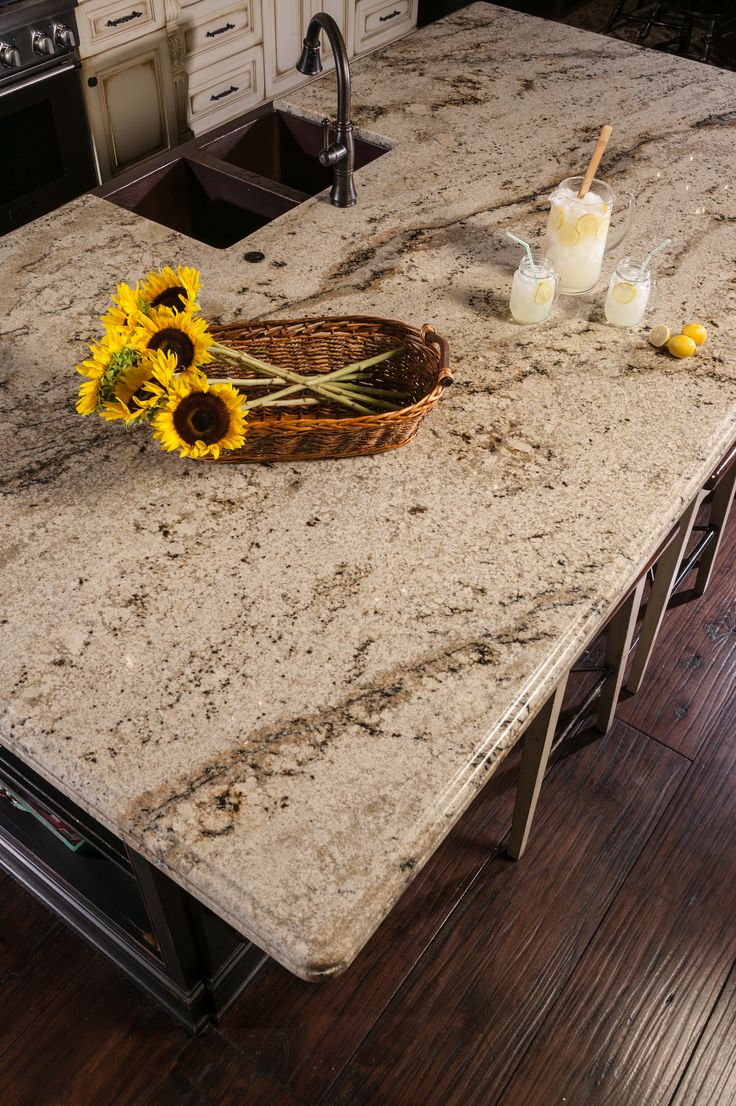 Beautiful sienna beige granite countertops in kitchen.