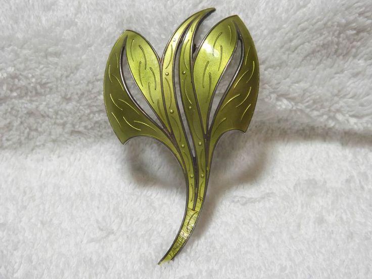 Vintage Norwegian Silver & Green Enamel Brooch -  By Ivar Holt - Norway