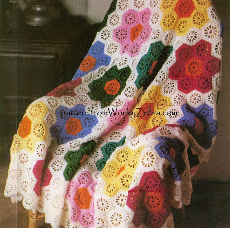 Vintage Crochet Blanket Pattern 262 PDF Hexagonal Flower Afghan Blanket from WonkyZebra. $4.00, via Etsy.