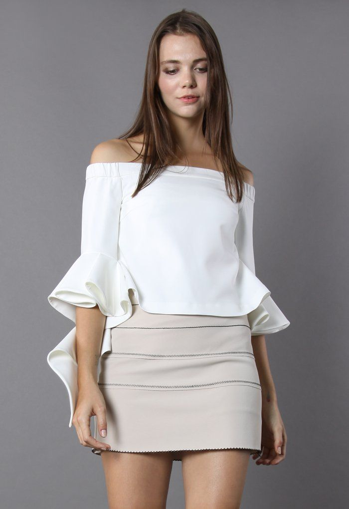 Ethereal Frilling Off-shoulder Top in White - New Arrivals - Retro, Indie and Unique Fashion