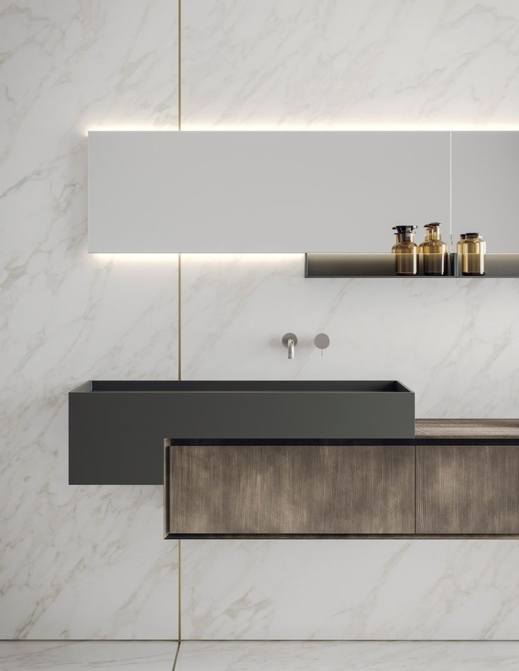Bathroom designs Lacquered wall mounted vanity unit