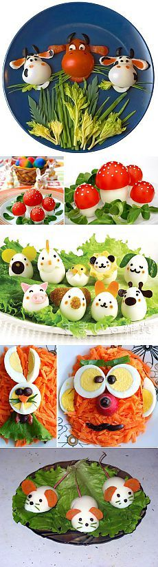 Interesting ideas, how to decorate dishes using eggs.