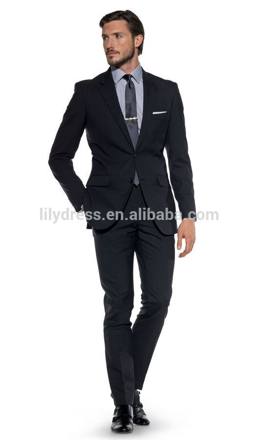 Bespoke Two Buttons Side Vent Charcoal Slim Fit Men's Business Suits(Jacket+Pants+Tie)BS118 Business Suit Men