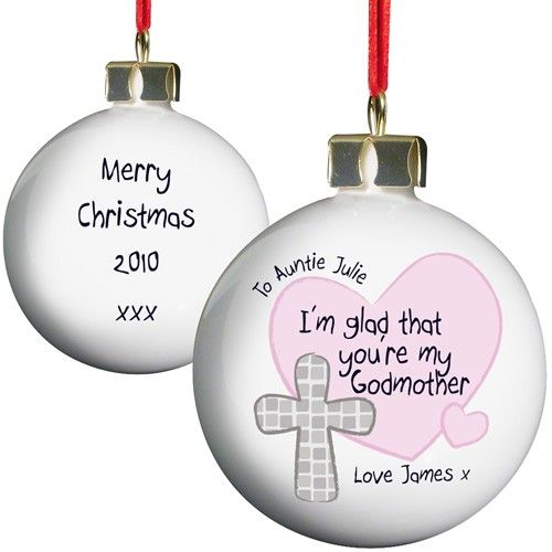 Personalised Godmother Christmas Bauble  from Personalised Gifts Shop - ONLY £9.99