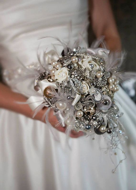 Brooch Bouquet - Jeweled Bouquet - Feather Bouquet -Crystal Bouquet - Pearl Bouquet - Bridal Memorial Bouquet - Wedding Broach Bouquet on Etsy, $168.41