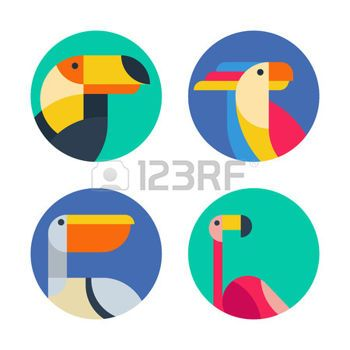 cartoon flamingo: Set of vector logo, badges, labels with exotic tropical birds. Flat colorful illustration of toucan, cockatoo parrot, flamingo and pelican. Trendy circle icons, emblems and design elements. Illustration