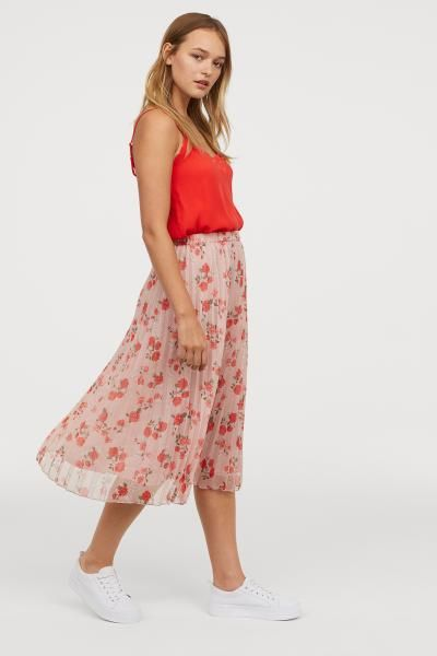 dea25f1870 Pleated skirt - Old rose/Floral - Ladies | H&M GB 1 | Fashion insp ...