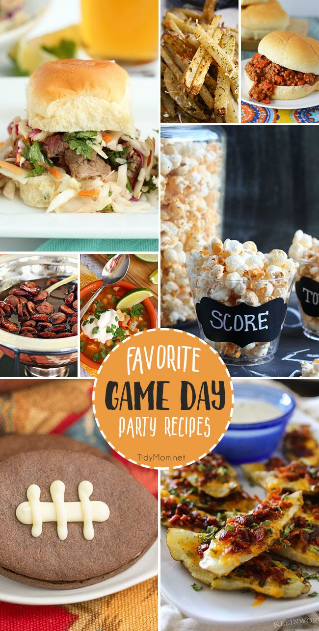 Game day party recipes from brisket sliders and loaded potato wedges to buffalo ranch popcorn and football cookies!! You're sure to find all your FAVORITE GAME DAY PARTY RECIPES that will score big at any gathering! Get them all at TidyMom.net