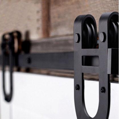 Barn Door Tracks - Flat Track Series Black Horseshoe Barn Door Track and Hardware & 22 best Barn Door Tracks images on Pinterest | Barn door track Barn ...
