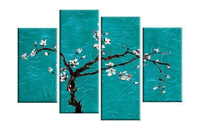 "LARGE TEAL TURQUOISE FLORAL BLOSSOM PAINTING WALL ART SPLIT CANVAS 40"" rdy2hang in Art, Canvas/ Giclee Prints 
