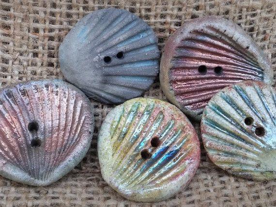 Ceramic Button1/8 28mm round button raku button by BlueBirdyDesign