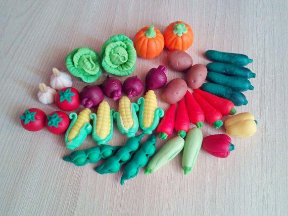 Vegetables toys Miniature toys educational toys Polymer clay Vegetables set…
