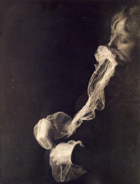 "Albert von Schrenck-Notzing, ""The medium Stanislawa P: emission and resorption of an ectoplasmic substance through the mouth"", 23 June 1913, Gelatin silver print"