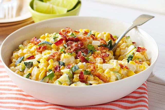 Fresh corn kernels. Zucchini. Mexican-style cheeses, sour cream and bacon. Sometimes you can tell you'll like a recipe before you've even made it!
